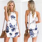 Womens Sleeveless Floral Printed Casual Loose Summer Beach Sundress Mini Dress