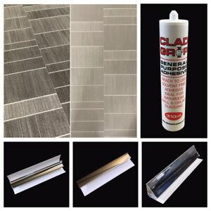 Executive Tile Effect Wall Panels & Bathroom Trims Shower Wall Cladding PVC Grey
