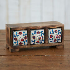 Fair Trade Handmade Mango Wood White Ceramic Hand Painted 3 Drawer Set