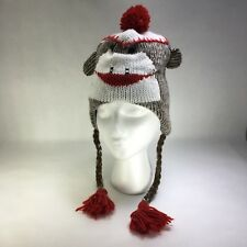 Sock Monkey Acrylic Knit Adult Hat With Gray Fleece Lining One Size Fits Most