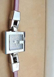 Pretty Gucci Diamond Bangle Watch G Mini 102 Pink Satin Band (Ret $1795) w/ Box
