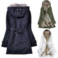 Womens Winter Thicken Fur Lining Warm Parka Coat Outwear Jacket Hooded Overcoats