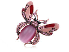 Rose Pink Beaded Rhinestone Gems Ladybug Fly Insect Fashion Pin Brooch Jewelry