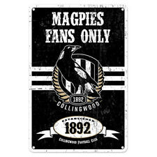 Collingwood Magpies Fans Only AFL Retro Metal Tin Wall Sign Gift Man Cave Bar