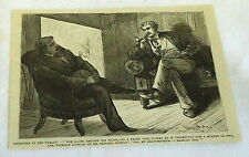1878 magazine engraving ~ TWO MEN TALK ABOUT MARRYING IN THE FAMILY