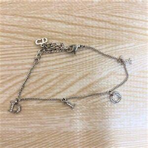 Christian Dior Logos Bracelet Silver Charm Rhinestone Bangle Accessories Auth