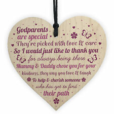 Novelty Godparent Christening Gift Wooden Heart Godmother Godfather Thank YOU