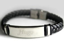 HUGO - Bracelet With Name - Leather Braided Engraved - Gifts For Him