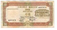 MACAU Banco Nacional Ultramarino 10 Patacas VF Banknote (1991) P-65 AG Prefix