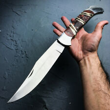 "18"" GIANT FOLDING POCKET KNIFE Wood Camping Hunting Lockback Skinner Bowie Bone"
