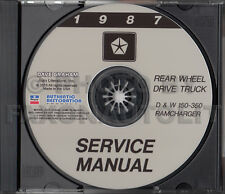 1987 Dodge Pickup Truck Shop Manual CD D150 D250 D350 Ramcharger W150 W250 W350