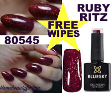 BLUESKY GEL POLISH RUBY RITZ RED GLITTER 80545 NAIL LED UV SOAK OFF, ANY 2=FILE