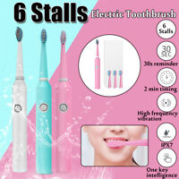 6 Modes Sonic Electric Toothbrush USB Rechargeable Smart Timer + 4 Heads