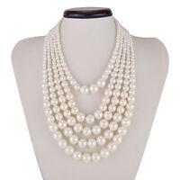 Kalse Fashion White Strands Strings Pearl Chain Chunky Choker Bib Charm Necklace