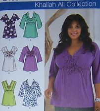 Khaliah Ali pattern STYLISH Neck TUNIC 20-28W variation