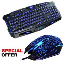 3 LED Backlit USB Wired Gaming Keyboard and Mouse Mice Bundles Set For PC Laptop