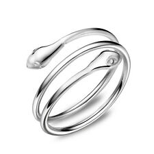 NEW 925 Sterling Silver Dou Snake Wrap Adjustable Ring Size 3-5 by Masino