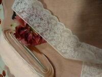 neuf=2m,50x6cm  ancienne  mercerie  rose pastel ,dentelle de calais 3lots dispo