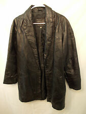Navarre Leather Coat Jacket Small Black Leather Patch Work Long Sleeves