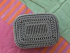 Crystal-Embellished Mini Box Clutch Evening Bag