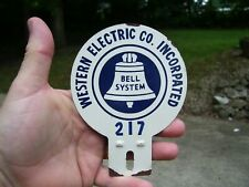 Vintage Antique Bell System Western Electric Telephone License Plate Topper sign