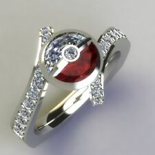 Certified 14K-White-Gold-Pokemon-Half-Round-3.00Ct-White-Red-Garnet-Wedding-Ring