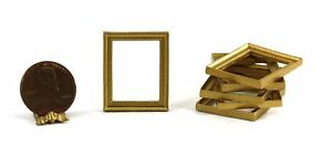 Dollhouse Miniature Set of 6 Small Rectangular Gold Picture Frames