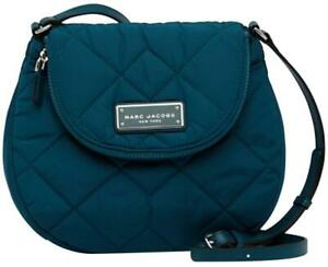 NWT Marc Jacobs Quilted Nylon Messenger Bag, Deep Sea (Teal - Silver)