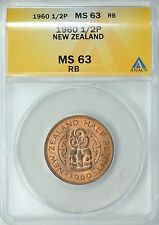 1960 NEW ZEALAND HALF PENNY 1/2P ANACS MS63 RB