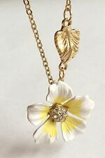 Gold Plated Hibiscus Flower Necklace Crystal White Yellow Enamel 19 inches USA