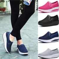 New Women Jogger Jogging Platform Wedge Creeper Shape Ups Sneakers Sport Shoes