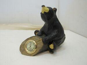 Bearfoots Bears Jeff Fleming Big Sky Carvers Retired Bear on Log Clock