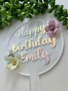 Personalised  Floral Cake Topper... Acrylic ...Birthday, Party, Celebration