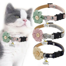 Flower Breakaway Cat Collar Personalized ID Name Tag Engraved Name Number & Bell