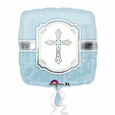 """Blue 17"""" Foil Cross Balloon Christening First Holy Communion Comfirmation Party"""