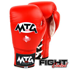 MTG Pro Lace Up Boxing Gloves - Red - FREE P&P - Muay Thai, MMA, Boxing