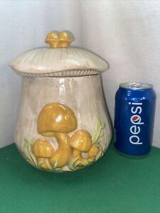 Vtg 70's Medium Ceramic Art Yellow Mushroom Canister Dog Treat Candy Cookie Jar