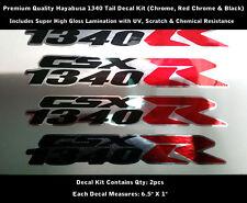 """1340 R Decal Hayabusa Kit 2pcs GSXR Chrome Black Red Chrome Laminated 6.5"""" 0139"""