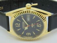 genuine citizen automatic men gold plated black dial mo 8200 vintage japan watch