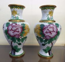 A PAIR OF VINTAGE 10 INCHES CLOISONNE FILIGRANE MIRRORED CHINESE VASES