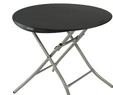 "Lifetime 33"" Round Folding Table Black Plastic Lightweight New"