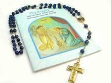 SALE!  Lapis Lazuli traditional Catholic Gold Rosary / 27in round/ 14K GF rosary