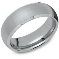 New 7mm Brushed Court Tungsten Carbide Band Ring Size V