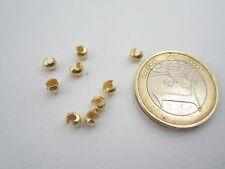 2 copri schiaccino in argento 925 sterling placcato oro giallo di 4x3,5 mm italy