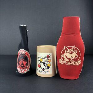 Vintage Anheuser Busch Lot of 3 Beer Koozies Budweiser Bud Light Red Wolf