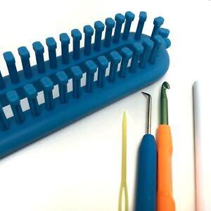 KnitUK Long Blue Knitting Loom. 124 pegs fitted - medium gauge loom.