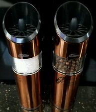 Copper Trudeau automatic Salt & pepper mill set grinder flip it New