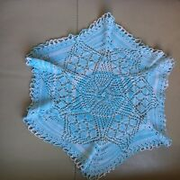 Vintage Knitted Mat Retro Mid Century Blue White Lace Cotton Doile Centrepiece