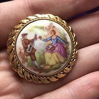 Vintage gold tone frame Tudor Scene Print ceramic Brooch