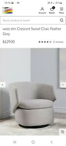 west elm Crescent Swivel Chair, Feather Grey RRP£629